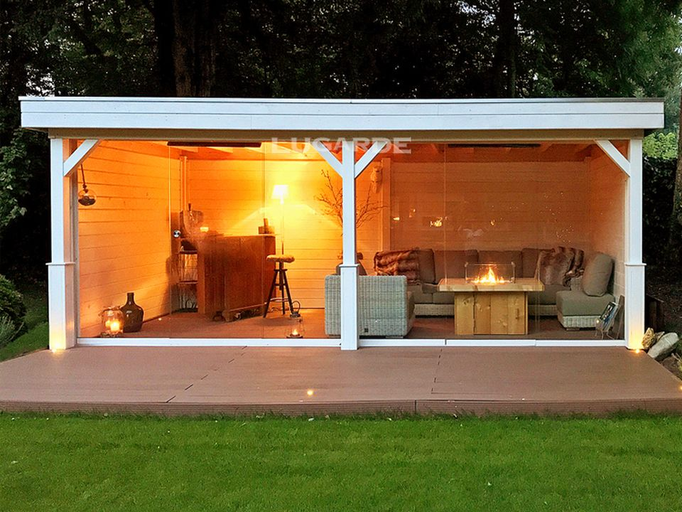 Lugarde Granada VV12 flat roof gazebo with glass sliding walls