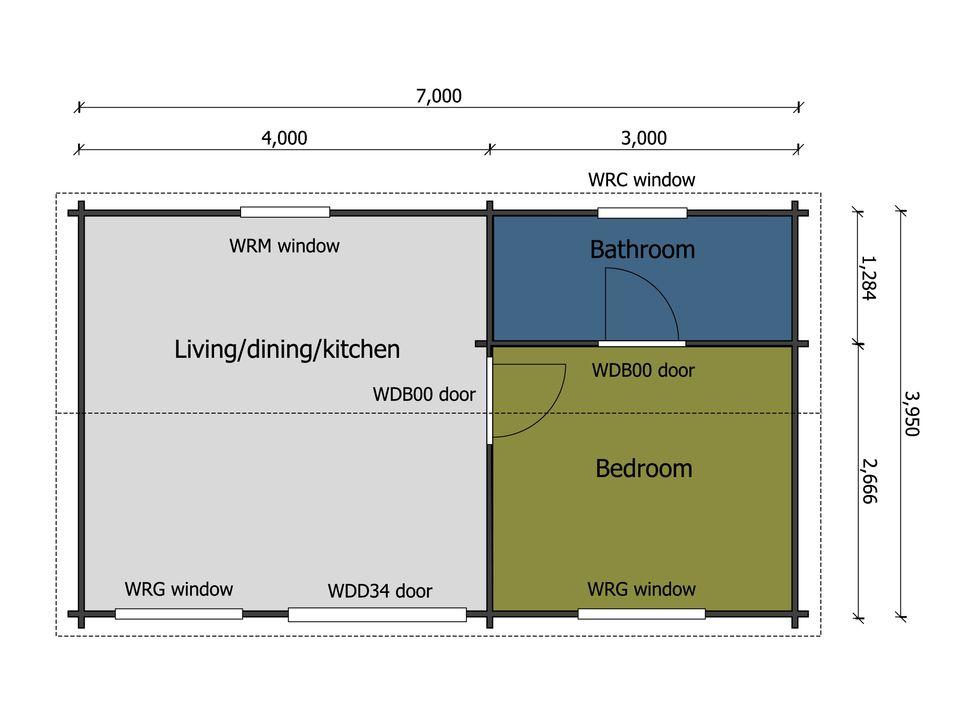 One bedroom Firecrest caravan/mobile home floor plan
