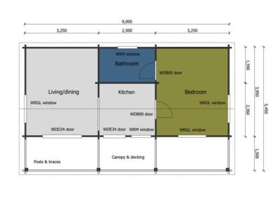 Keops Rosefinch one bedroom mobile home floor plan