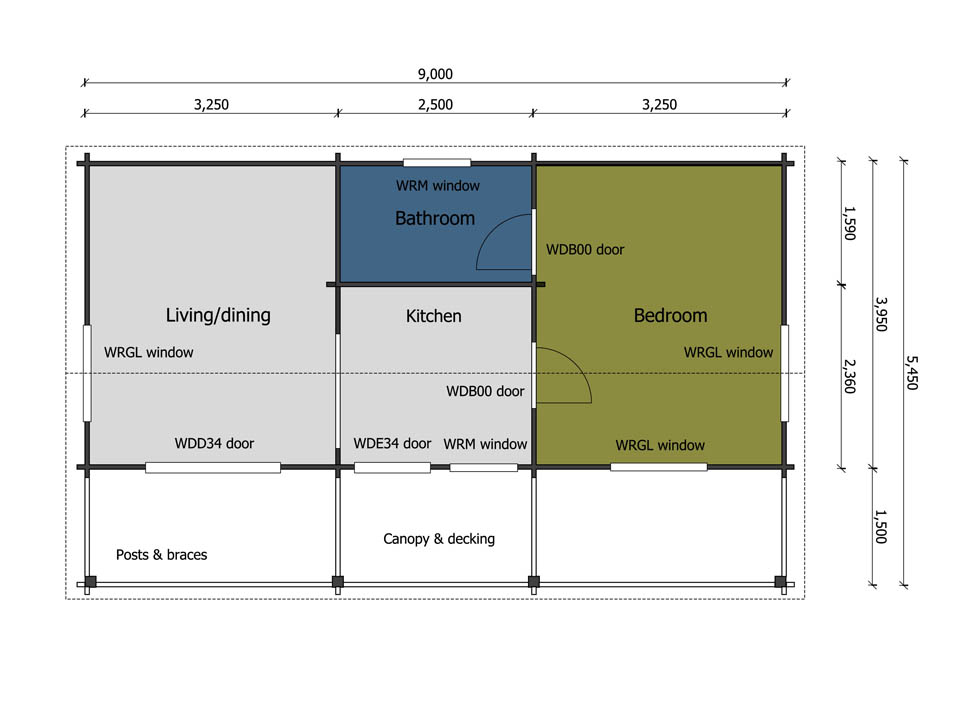 Keops Rosefinch one bedroom mobile home floor plan