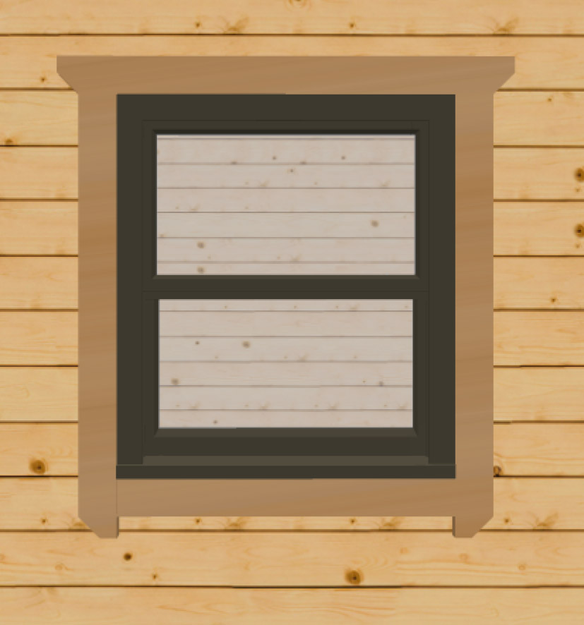 Black brown sash windows for log cabins