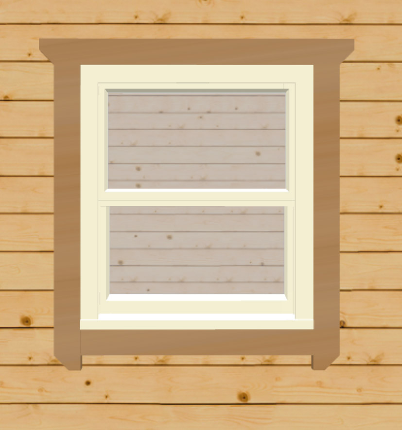 Cream sash windows for log cabins