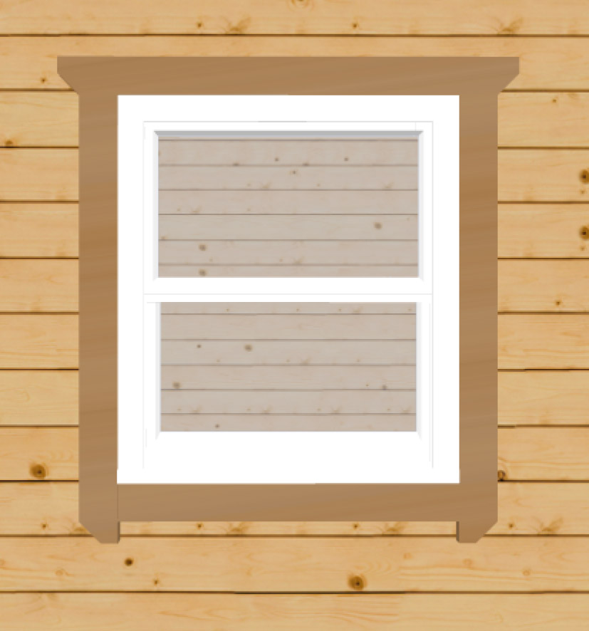 White sash windows for log cabins