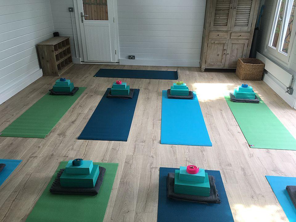 Classic yoga studio log cabin interior