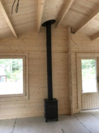 The flue is double skin stainless steel and insulated for safety
