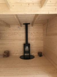 Morso stove and flue for Keops Moderna flat roof log cabin