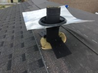 Flue support brackets are shown with weather tight flashing kit
