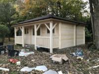 Keops Interlock pyramid style log cabin with veranda