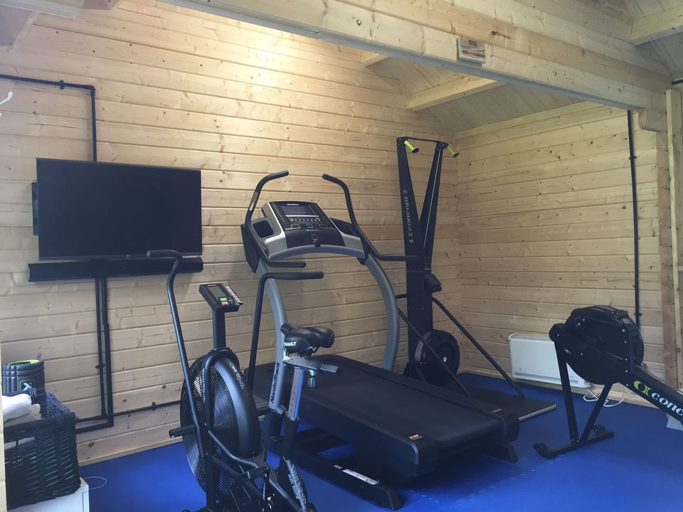 Mr s works out the perfect gym design keops interlock log cabins