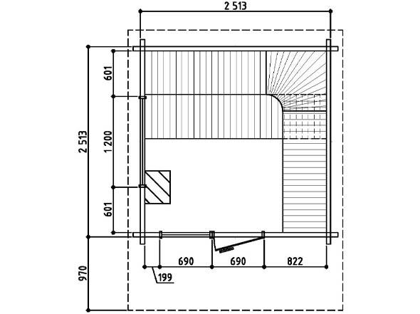 Keops Ebba sauna floor plan