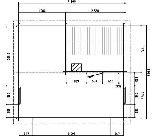 Keops Erling sauna cabin floor plan