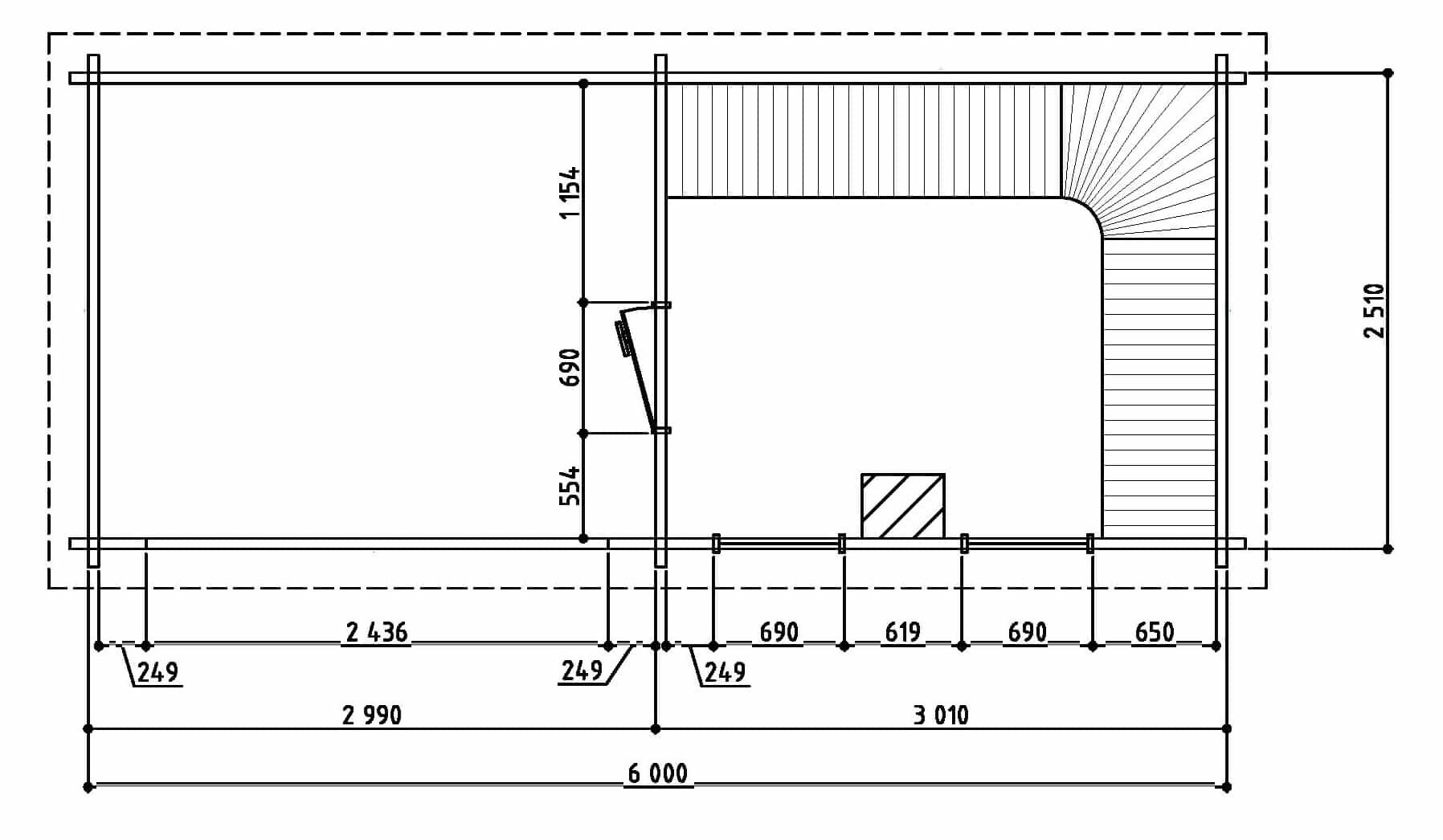 Keops Hedda sauna floor plan