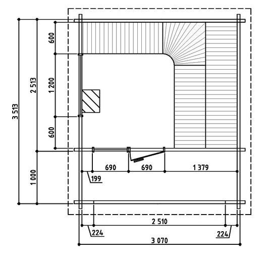 Keops Torvald sauna floor plan
