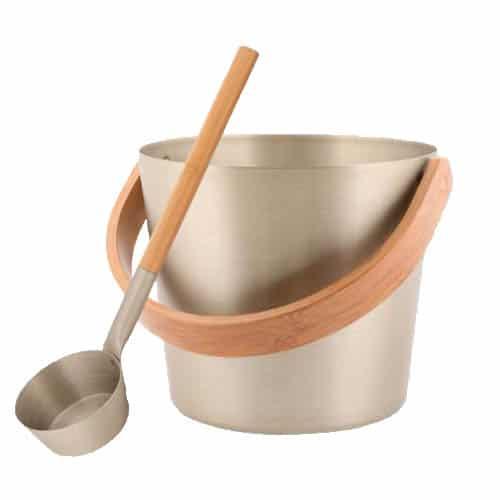 Sauna bucket & ladle champagne