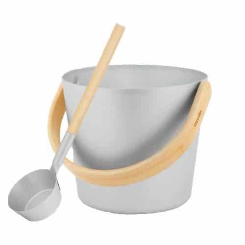 Sauna bucket & ladle grey