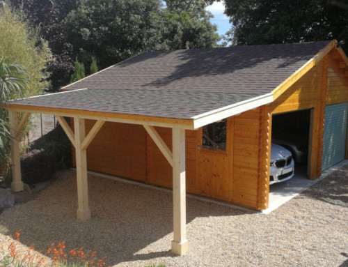 Double garage with carport extension