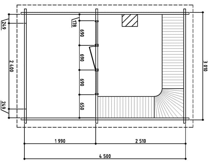 Keops Freya sauna floor plan