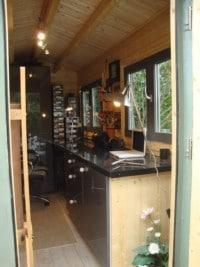 Log cabin garden art studio