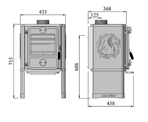 Morso 1442 stove dimensions