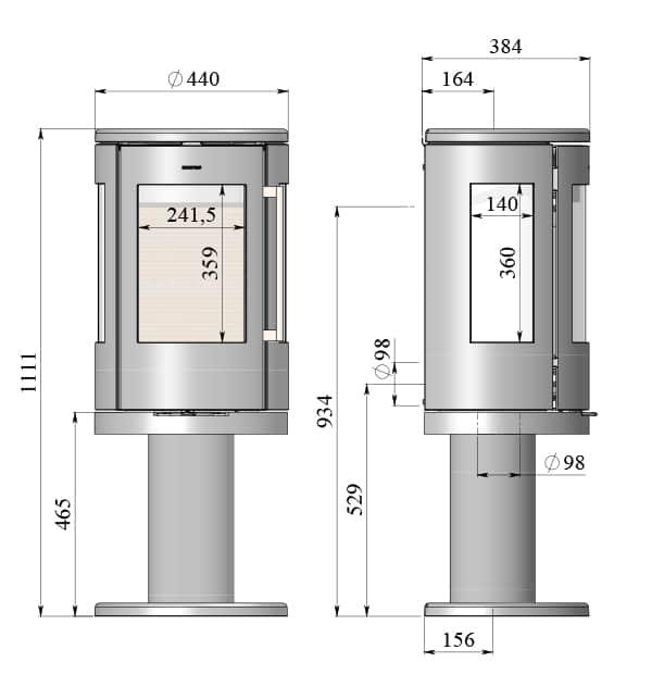 morso 7449 wood burning stove diagram with dimensions