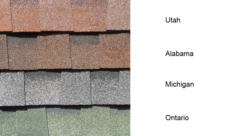 Country felt shingles in 4 colours