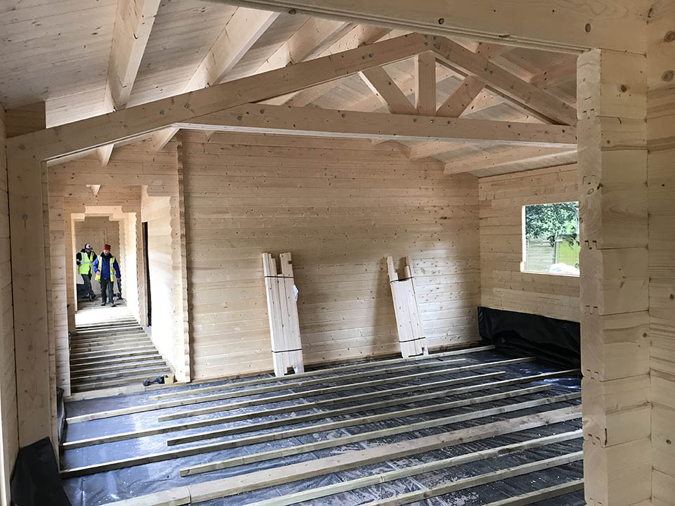 Classroom interior with open roof truss