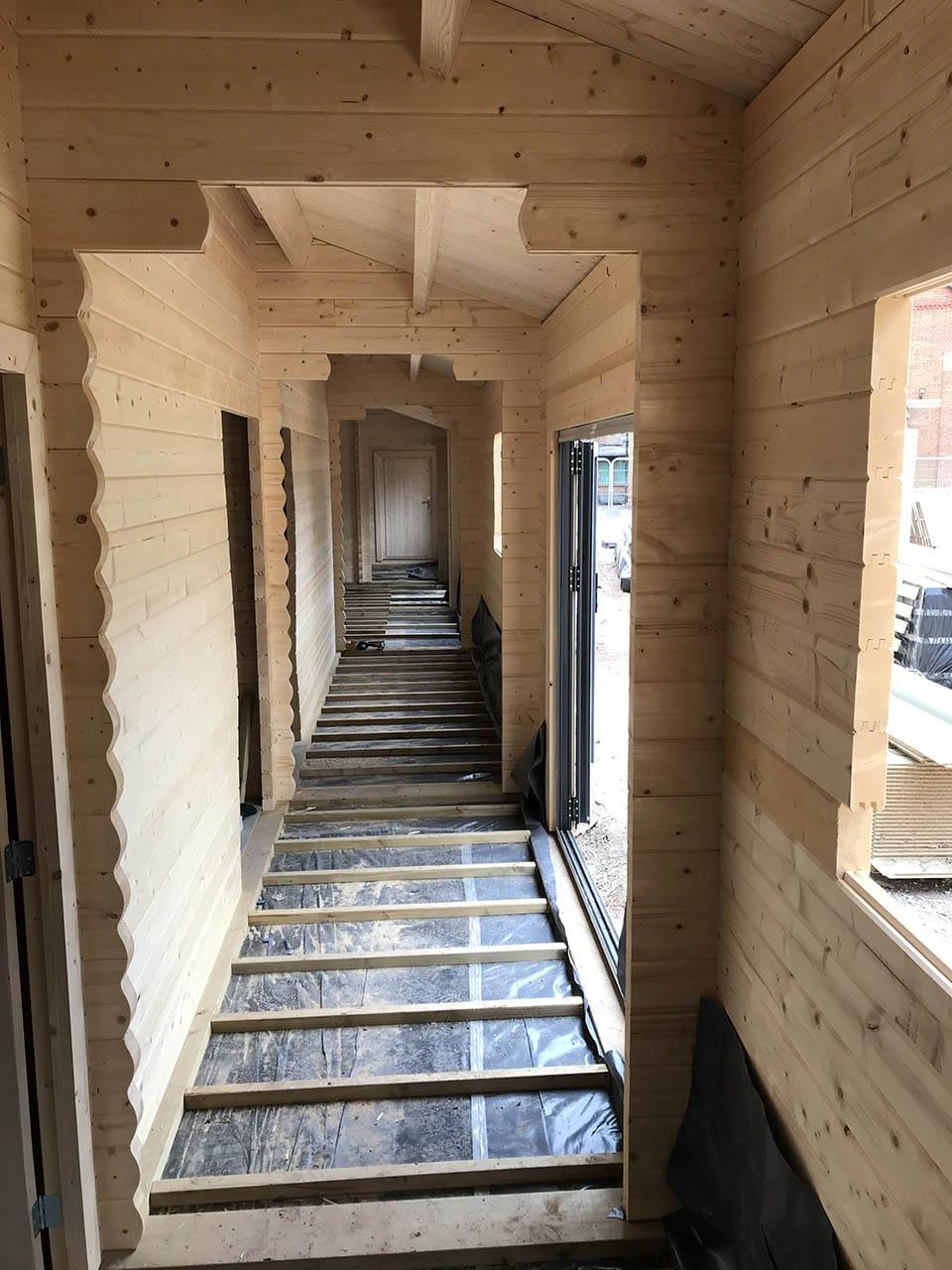 School building interior corridor
