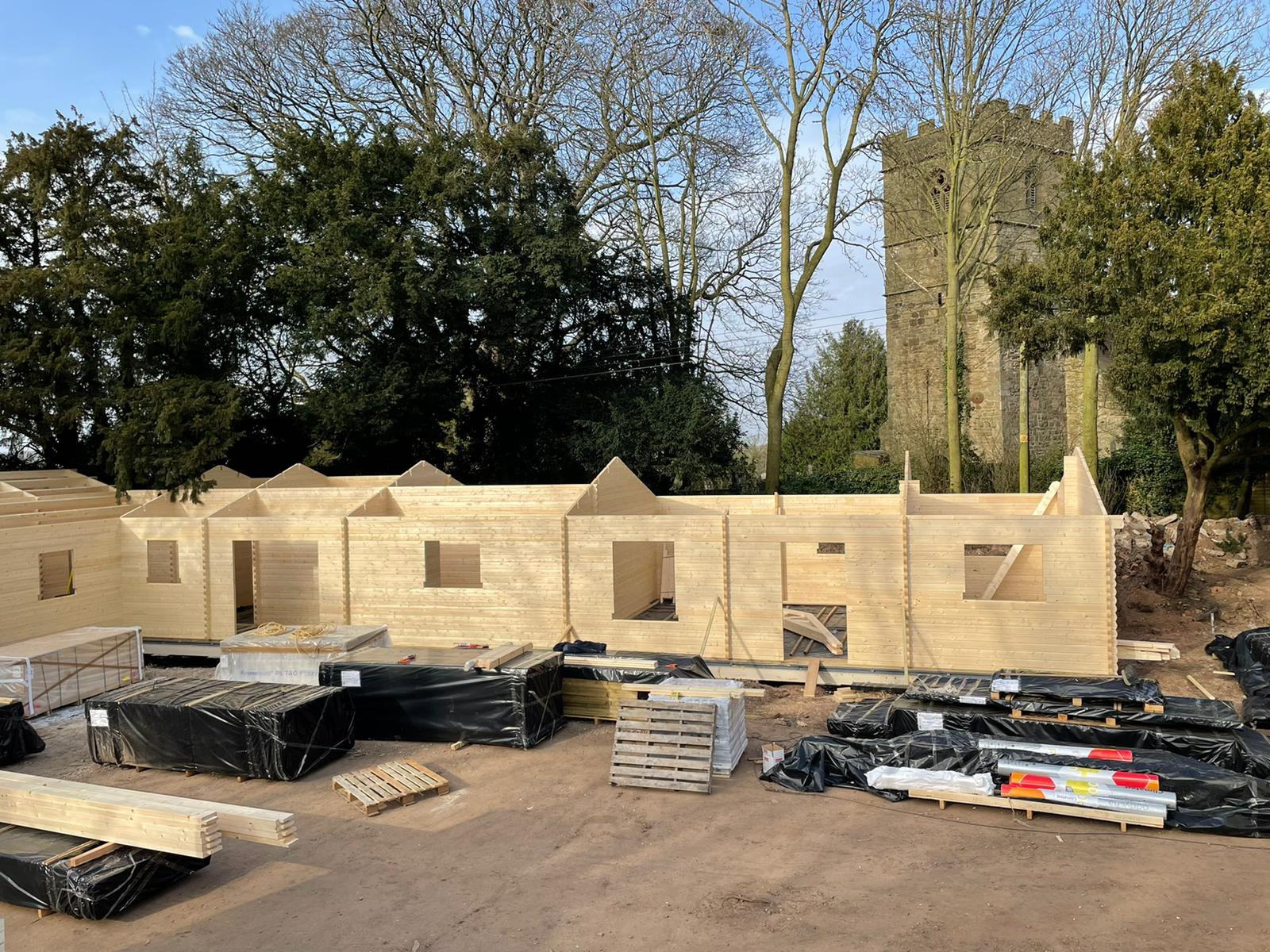 Walls completed to roof height