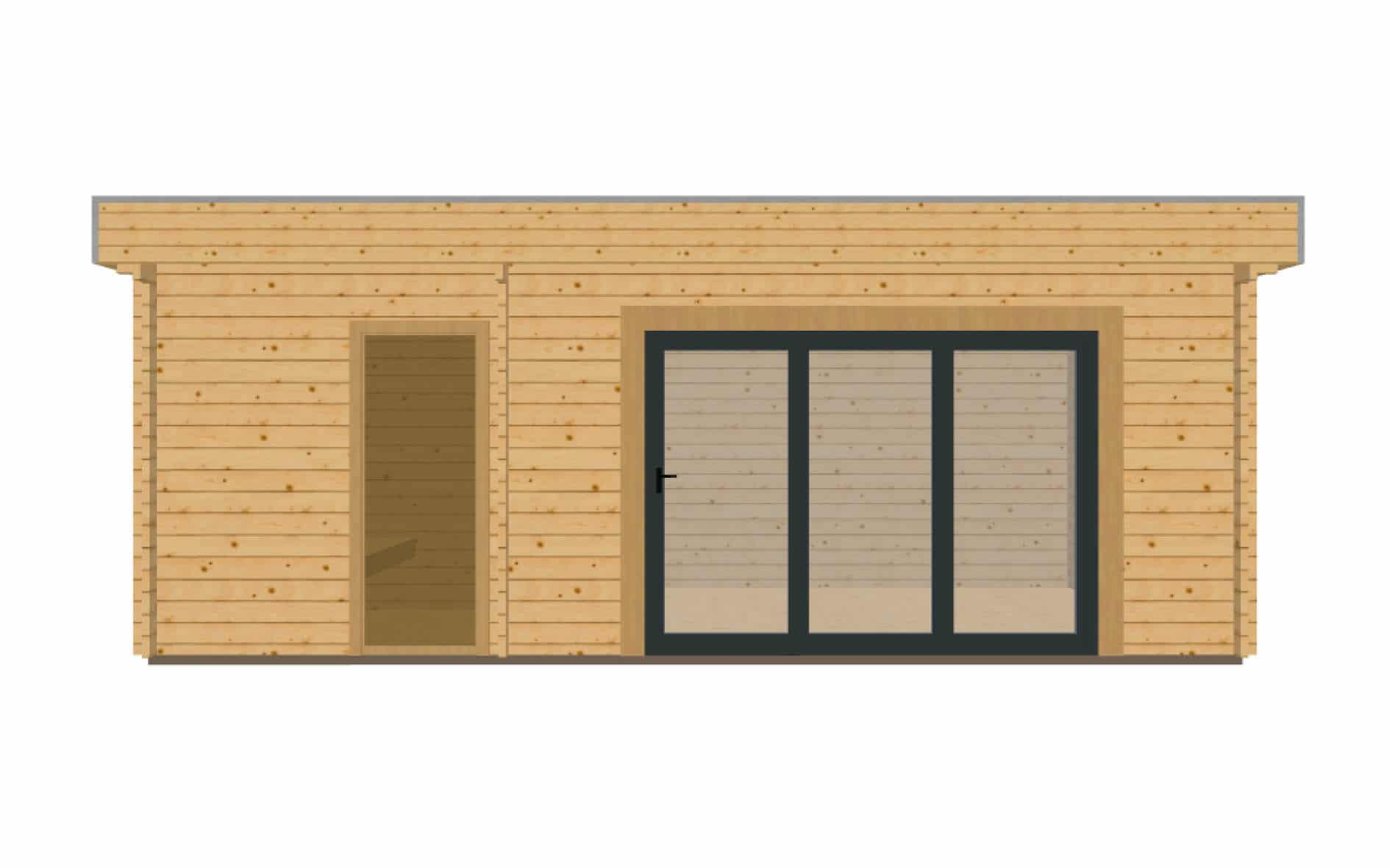 Keops Moderna log cabin with bi-fold door, sauna and wet room
