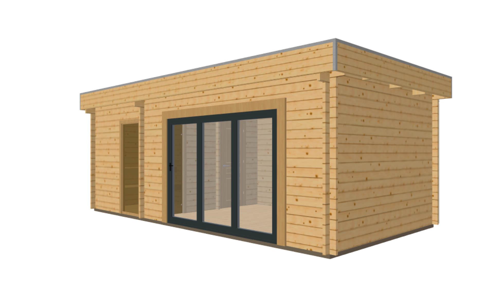 Keops Moderna log cabin with aluminium bi-fold door and sauna