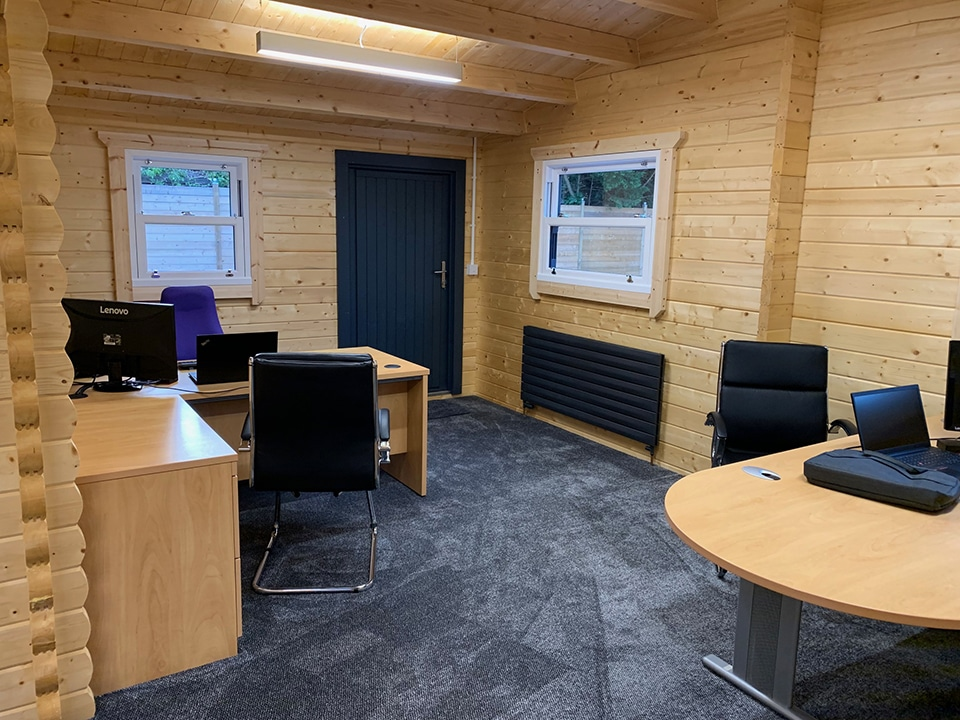 L shaped office space