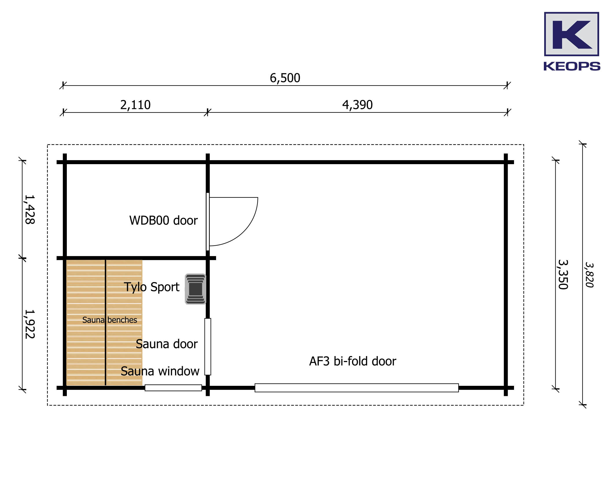 Floor plan - Moderna 6.5m x 3.35m with sauna